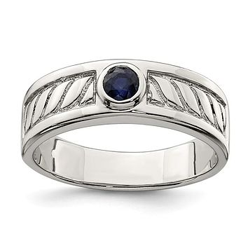 Sterling Silver Men's Bezel Blue Sapphire Textured Band Ring