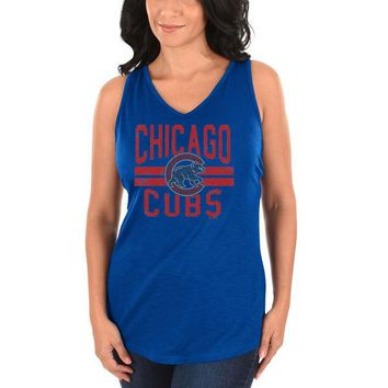 17928b8bf4abf Chicago Cubs Majestic Women s Four Seamer Tank Top - Royal