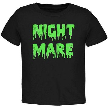 PEAPGQ9 Halloween Nightmare Horror Slime Dripping Text Toddler T Shirt