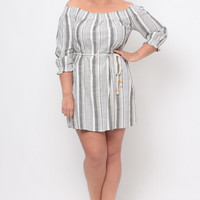 Plus Size Smocked Off The Shoulder Dress - Black Stripe
