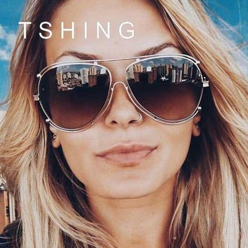 ONETOW TSHING Ladies Luxury Oversized Aviation Sunglasses Women Fashion Brand Designer Flat Top Metal Mirror Pilot Sun Glasses Female