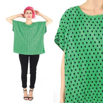 Vintage Green Polka Dot Blouse Pleated Slouchy Top Short Sleeve Shirt Bright Kelly Green Navy Dot Print Summer Sleeveless Plus Size Top (XL)