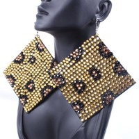 "2 Pairs of Leopard 3.5"" Square Shaped Felt Drop Earrings Basketball Mob Wives Poparazzi"