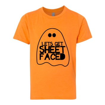CamisasCo Unisex Lets Get Sheet Faced Halloween Shirt