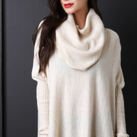 Boxy Draping Cowl Neck Sweater Top