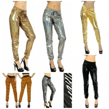 Faux Leather Clubbing Joggers in sizes S/M. L/XL and 2X/3X in 6 Patterns