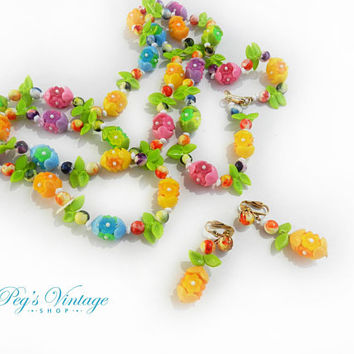 Vintage Flower Necklace & Earrings, 50s Plastic Flower Bead Long Necklace Set, Colorful Bright Rainbow Flower Floral Necklace Hong Kong