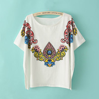 Vintage Colorful Flower Batwing T-shirt