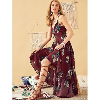Lace Up Back High Low Floral Cami Dress
