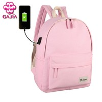 GAJIA External Charging USB Backpack Women Travel Bag Canvas Backpack College Student School Backpack Bags for Teenagers Mochila