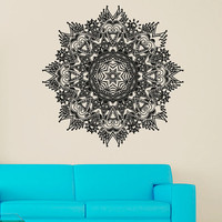Wall Decal Vinyl Sticker Decals Art Decor Design Mandala Ornament Ganesh Indidan Pattern Style Yoga Modern Bedroom (r1365)