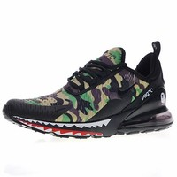 "A Bathing APE x Nike Air Max 270 Running Sneaker ""Black&Green""AH6799-003"