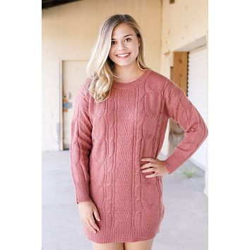 PS I Love You L/S Cable Knit Sweater Dress, Dusty Pink