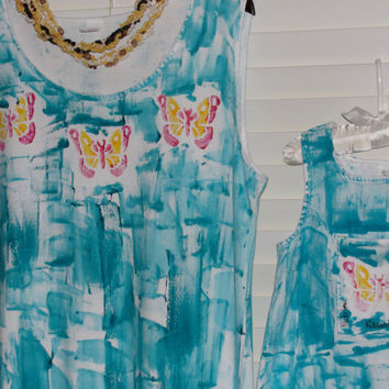 Kauai Sun Dress - Hawaii Beach Dress - Hand Painted Dress - Plus Size Dress - Cotton Dress - A Line Dress - Butterfly Dress - Aqua Dress