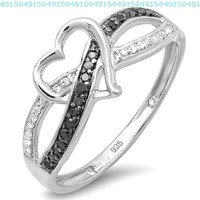 0.20 Carat (ctw) Sterling Silver Black & White Diamond Promis