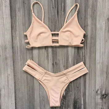 Cute nude color hollow two piece bikini