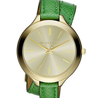 Michael Kors Mid-Size Slim Snake-Embossed Leather Runway Watch, Green/Golden - Michael Kors