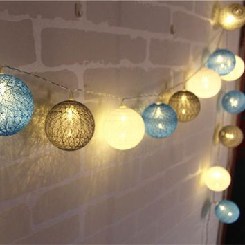 White/Blue/Gray Indoor Decoration Cotton Ball Led String Light