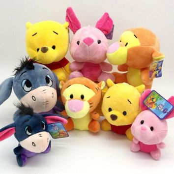 New Cute Cartoon Children Plush Toys Soft Animal Plush Pink Pig Yellow Bear Small Donkey Tiger Birthday Gift With Suction Cup