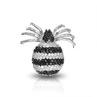 Bling Jewelry Stripe Spider Brooch
