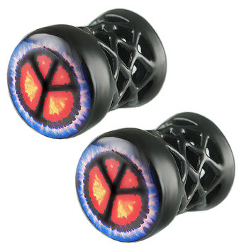 Peace Sign Logo Double-Flared Plug [Gauge: 0G - 8mm] Alloy (Black) // Set of 2