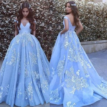 Baby Blue Lace Embroidery Quinceanera gown