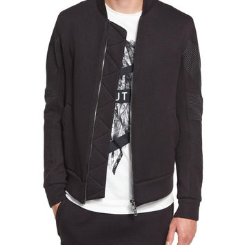 Channel-Stitch Bomber Jacket, Black