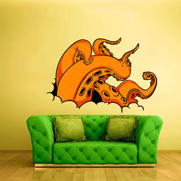Full Color Wall Decal Mural Sticker Decor Art Tentacles octopus crack hole Sprut Poulpe Ocean scuba diver (col336)