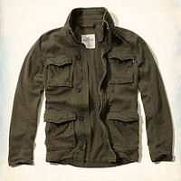 NWT HOLLISTER  Men's Military-Style Jacket by Abercrombie OLIVE GREEN L