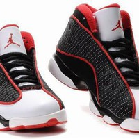 New Nike Air Jordan 13 Kids Shoes Black White Red