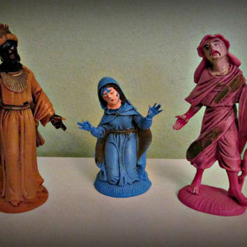 Antique three Figurines christian statue, Statues Two Kings and Virgin Mary Catholic Religious Italian, home decor