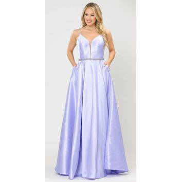 Long Satin Prom Dress with Spaghetti Straps Lilac