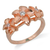Three Plumeria Ring with 14K Rose Gold Finish over Sterling Silver