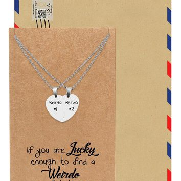 Nicolai Half Hearts Pendant Set of 2 Necklaces with Weirdo #1 and Weirdo #2 Inscription, Relationship Goals, His and Hers Gifts with Greeting Card