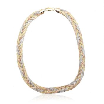 Tri Color Gold Braided Herringbone Choker Necklace