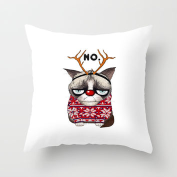 Grumpy Rudolph or Grumpy Red-Nosed cat Throw Pillow by Stylishbunny