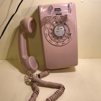 Rotary wall phone beige light tan wall mount jack made in the USA 80s telephone