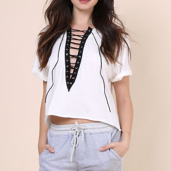 Jonathan Saint Lace Up Tee - White