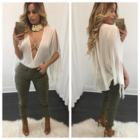 White Cross-Strap Plunging Flare Sleeve Sheer Top