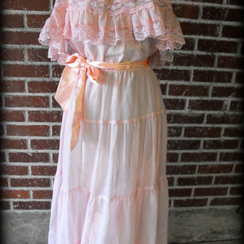 Vintage 1970's Pink Prairie Dress/Maxi Dress Medium