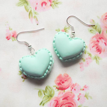 Macaroon Earrings, Heart Macaroon Earrings, Macaron Earrings, Heart Macaron Earrings, Sweet Lolita Earrings, Pastel, Green, Macaroons