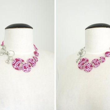 Pink Bib Necklace, Statement Circles Necklace, OOAK