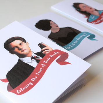SET OF 3 Twin Peaks Small Notebook - Shelly Johnson Audrey Horne Dale Cooper