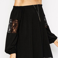 Black Chiffon Lace Swing Dress