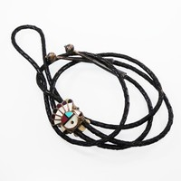 Hopi Bolo Slider Sterling Silver, Inlaid Camelian Turquoise Onyx & Mother of Pearl Leather Southwestern Bolo Tie Sterling Tips Vintage 1950s