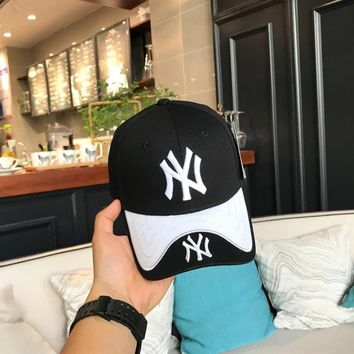 """New York Yankees"" Unisex Fashion Multicolor Letter Embroidery Baseball Cap Couple Peaked Cap Sun Hat"