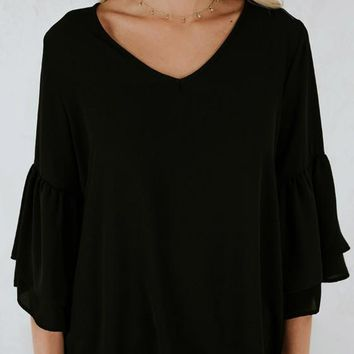 Black Draped V-neck Flare Sleeve Fashion Blouse