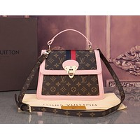 Louis Vuitton LV Newest Popular Women Monogram Leather Handbag Shoulder Bag Crossbody Satchel Pink