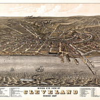 Vintage Map of Cleveland Ohio 1877 Cuyahoga County