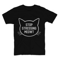 SILVER GLITZ PRINT! Stop Stressing Meowt, Graphic Tee, Unisex T-Shirt